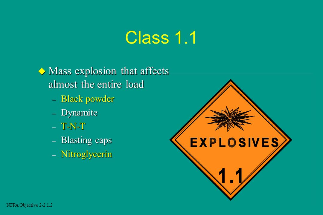 Class 1.1 Mass explosion that affects almost the entire load