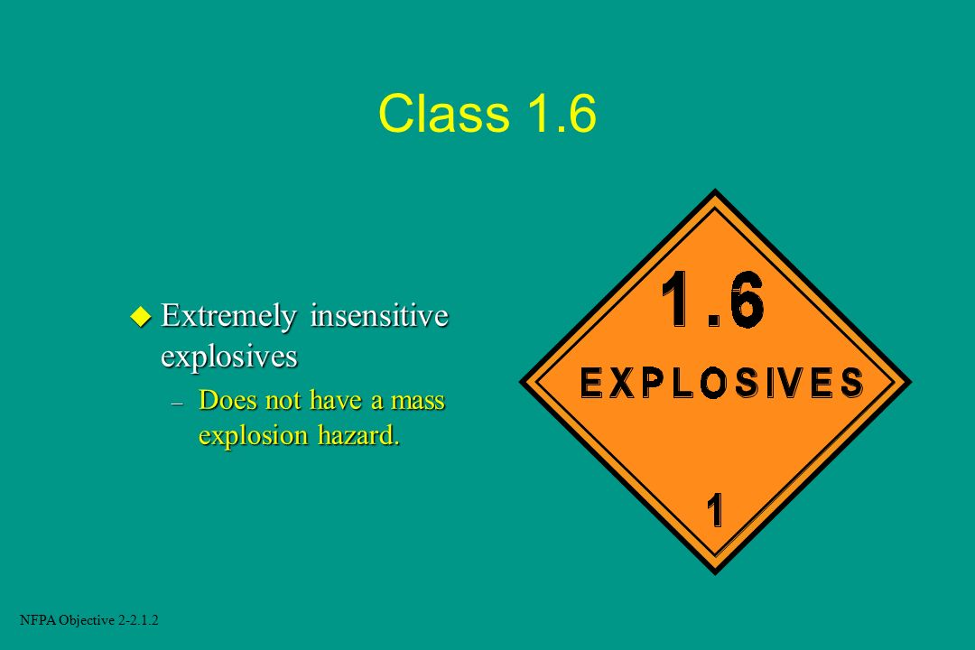 Class 1.6 Extremely insensitive explosives