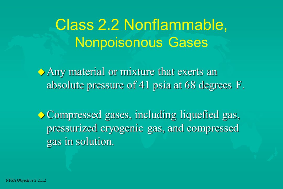 Class 2.2 Nonflammable, Nonpoisonous Gases