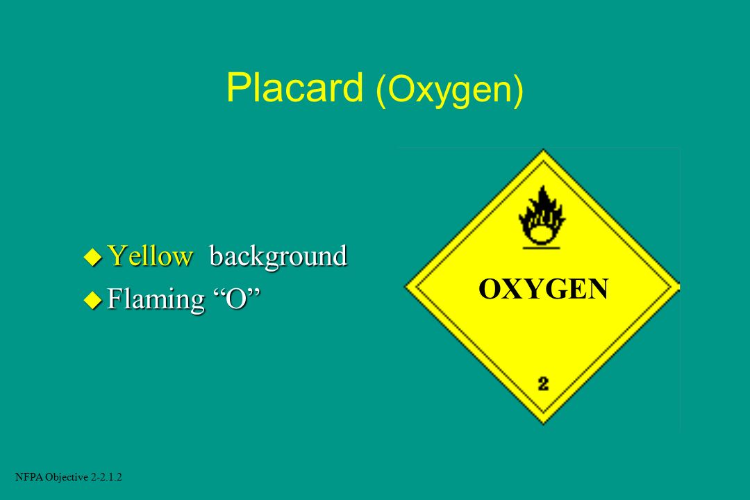 Placard (Oxygen) Yellow background Flaming O OXYGEN