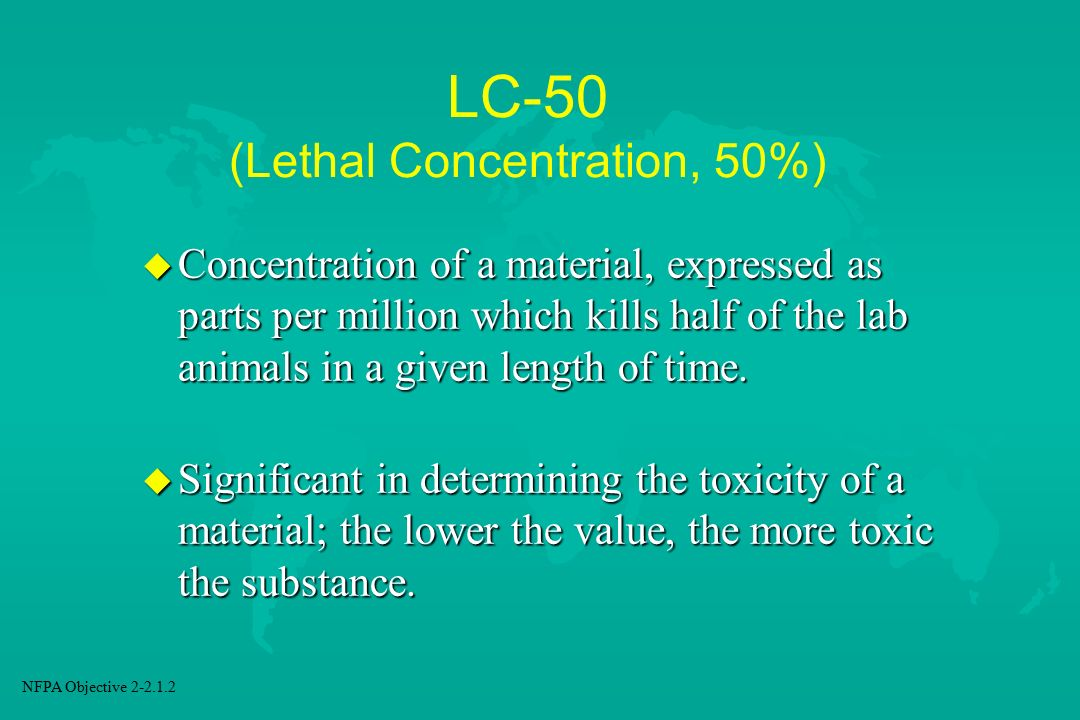 LC-50 (Lethal Concentration, 50%)
