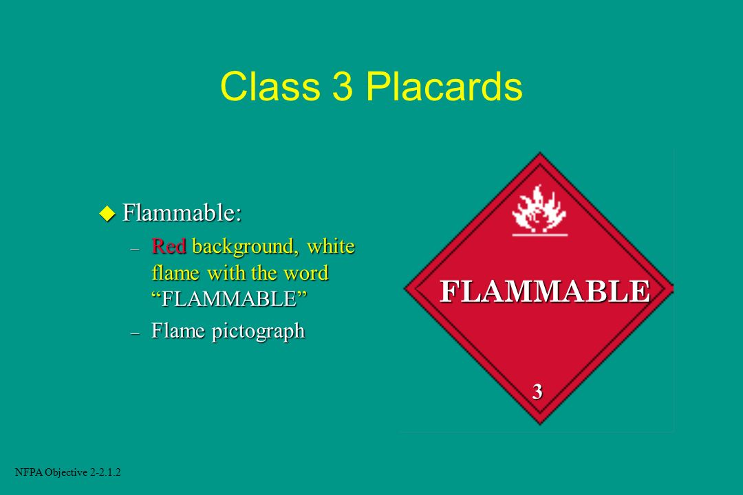 Class 3 Placards FLAMMABLE Flammable: