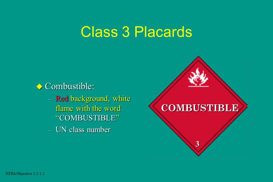 Class 3 Placards Combustible: COMBUSTIBLE