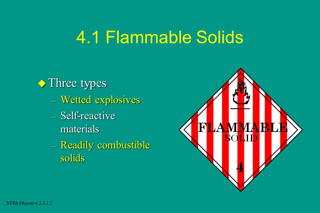 4.1 Flammable Solids Three types Wetted explosives