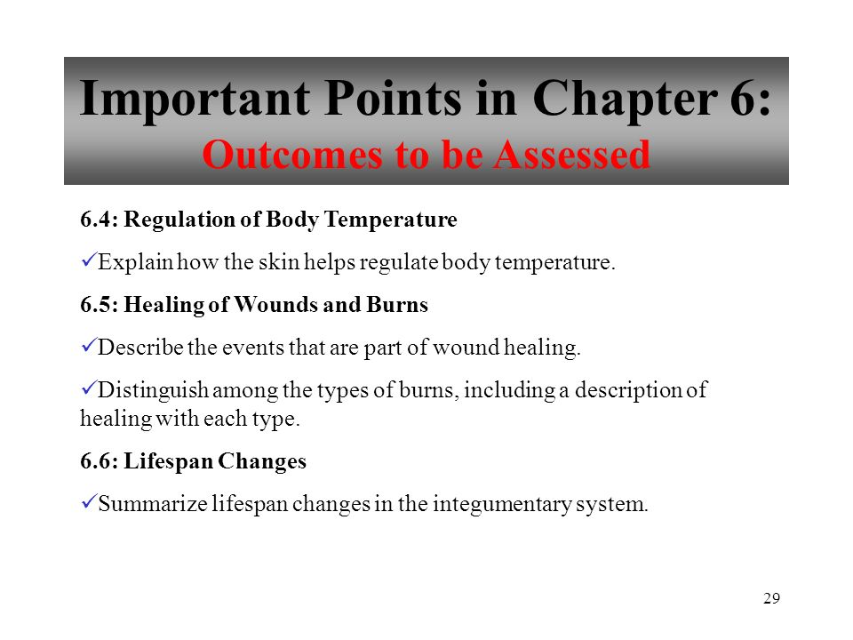 Important Points in Chapter 6: Outcomes to be Assessed