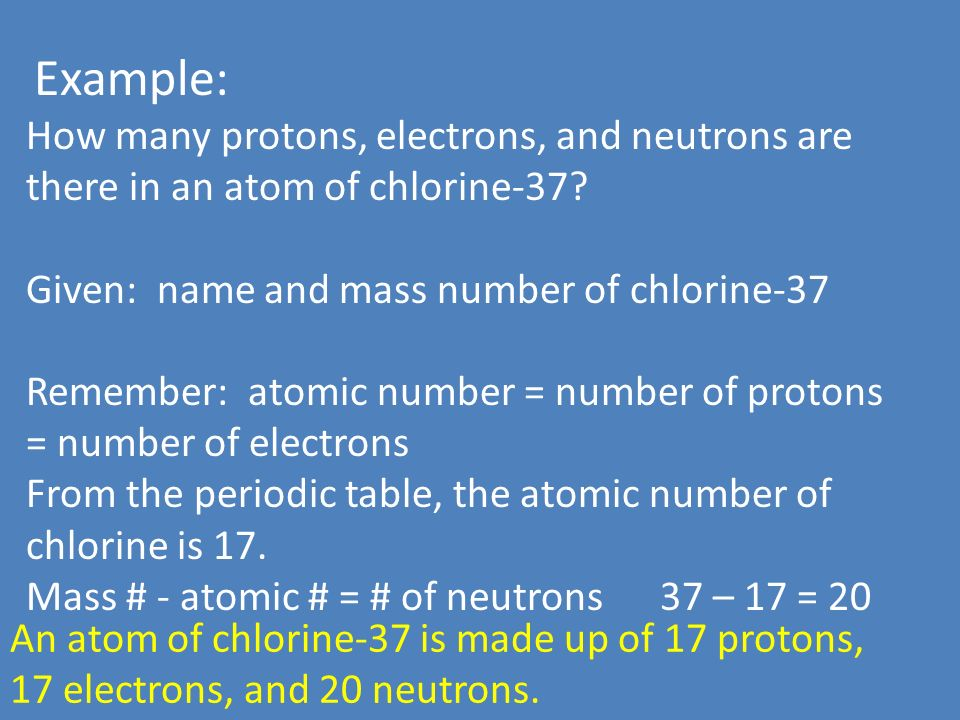 Counting atoms ppt video online download example how many protons electrons and neutrons are there in an atom of urtaz Image collections