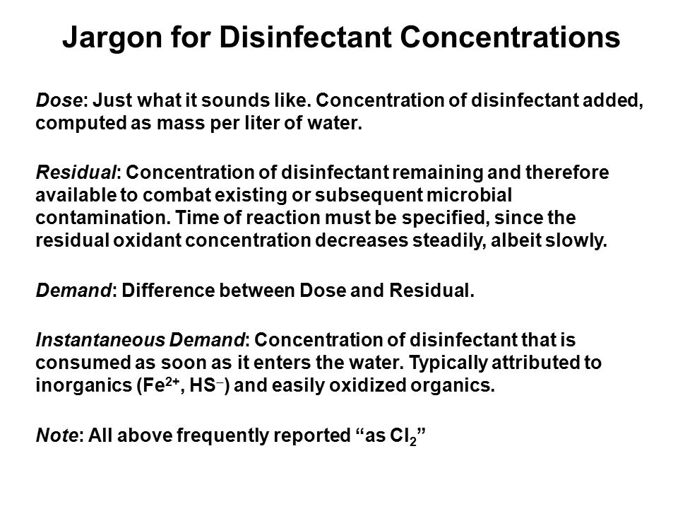 Jargon for Disinfectant Concentrations