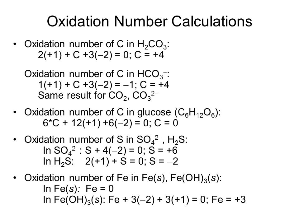 Oxidation Number Calculations
