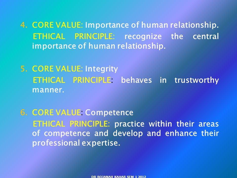 humans core issues in ethics and The following broad ethical principles are based on social work's core values of service, social justice, dignity and worth of the person, importance of human 2.