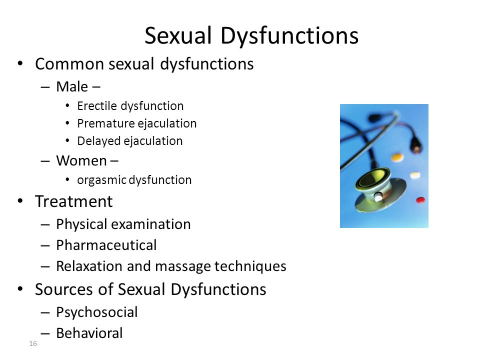 Sexual Dysfunctions Common sexual dysfunctions Treatment