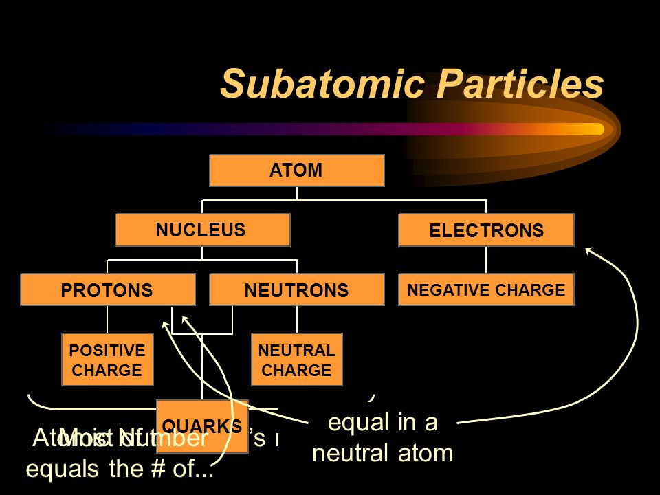 Subatomic Particles equal in a neutral atom Atomic Number