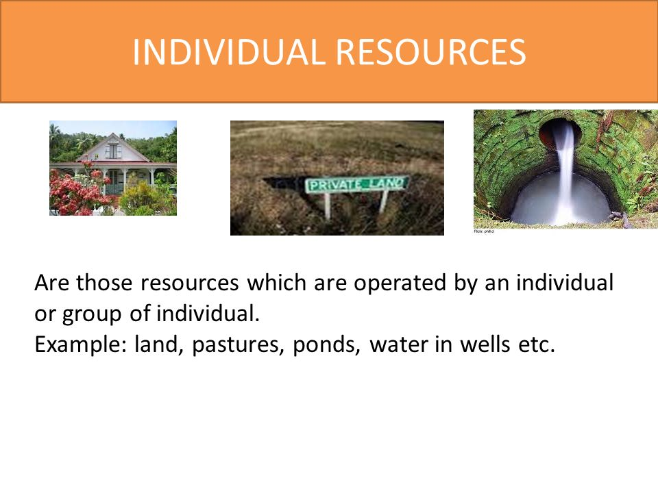 INDIVIDUAL RESOURCES Are those resources which are operated by an individual or group of individual.