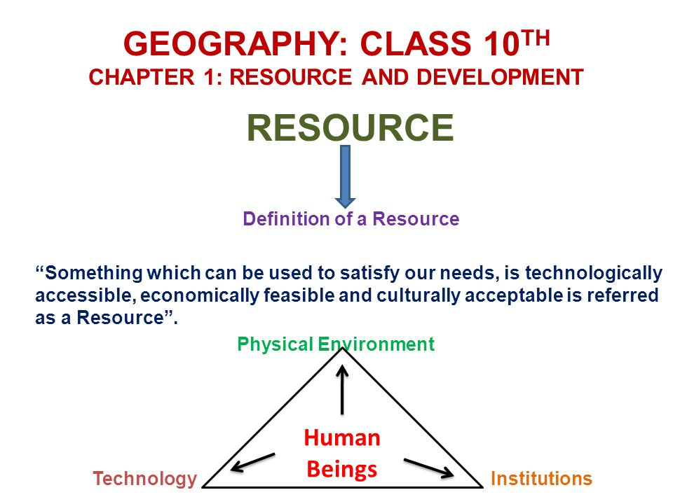 GEOGRAPHY: CLASS 10TH CHAPTER 1: RESOURCE AND DEVELOPMENT