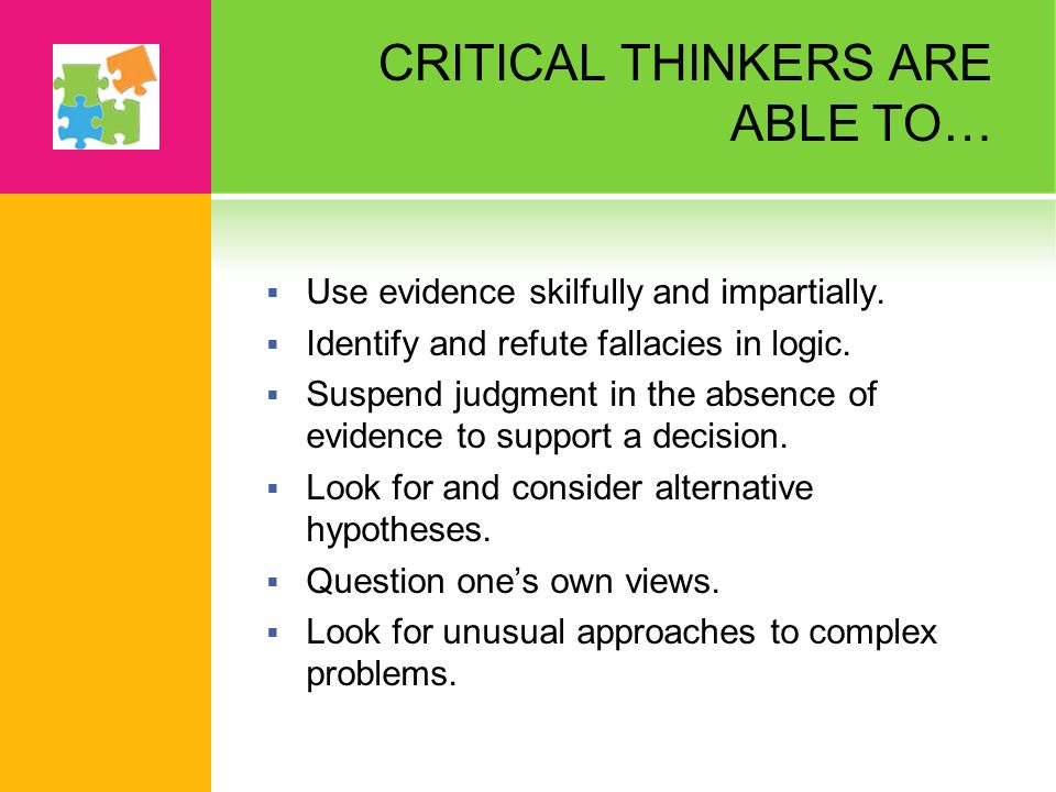 promoting and assessing critical thinking