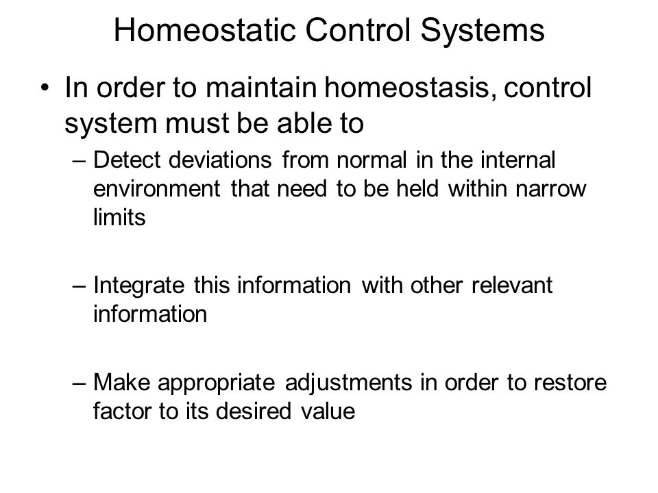 homeostasis co ordination and control Homeostasis literally means same state and it refers to the process of keeping the internal body environment in a steady state, when the external environment is changed the importance of this cannot be over-stressed, as it allows enzymes etc to be 'fine-tuned' to a particular set of conditions.
