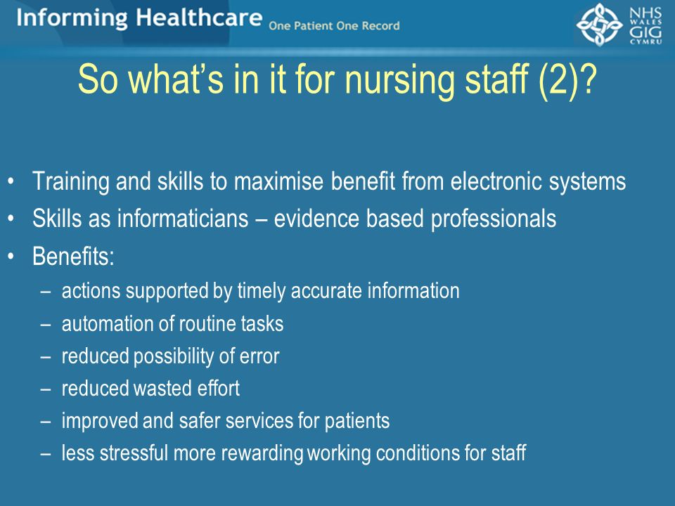 So what's in it for nursing staff (2)