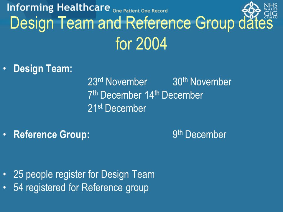 Design Team and Reference Group dates for 2004