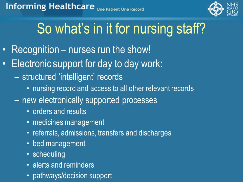 So what's in it for nursing staff