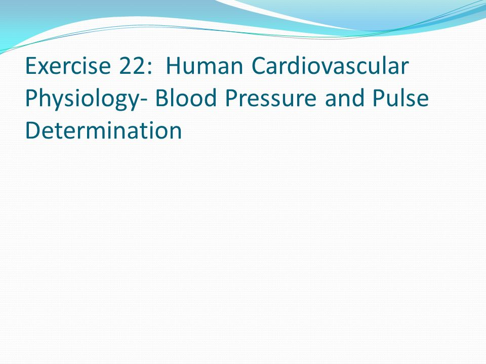 Exercise 22: Human Cardiovascular Physiology- Blood Pressure and Pulse Determination