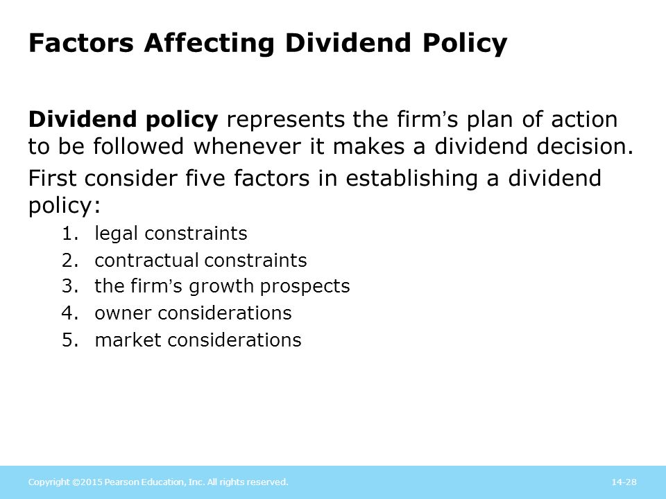 the factors affecting dividend payout policy Examine the factors, which may affect corporate dividend policy this section also explains the appropriate proxy variables used to measure the factors affecting dividend payouts.