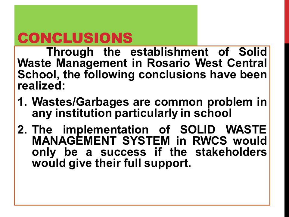 A Solid Waste Management System For Rosario West Central School