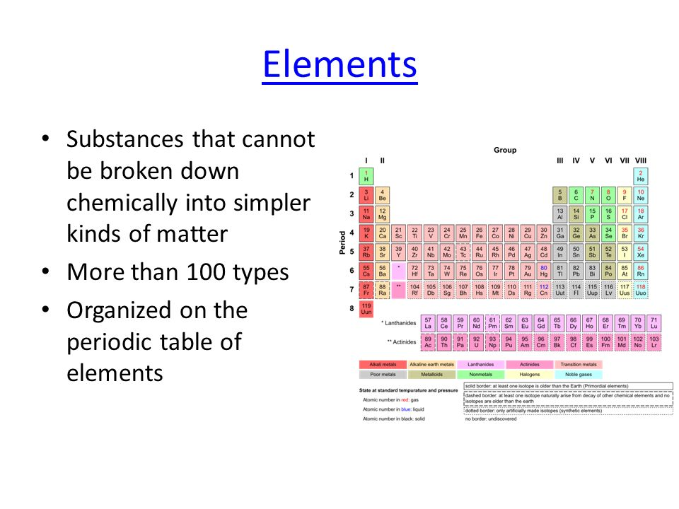Elements Substances that cannot be broken down chemically into simpler kinds of matter. More than 100 types.