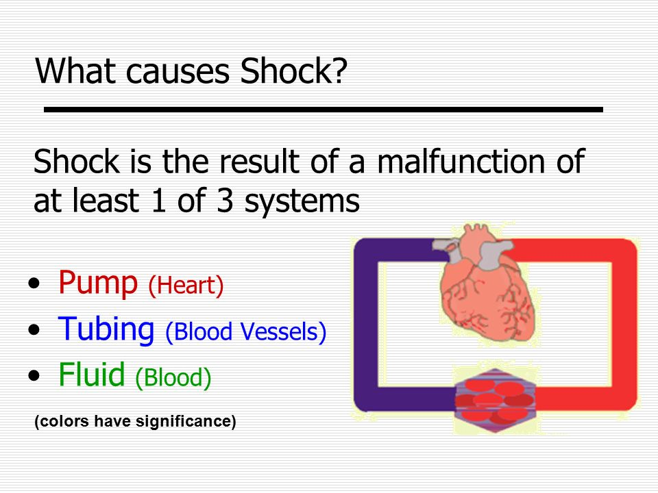 What causes Shock Shock is the result of a malfunction of at least 1 of 3 systems. Pump (Heart) Tubing (Blood Vessels)