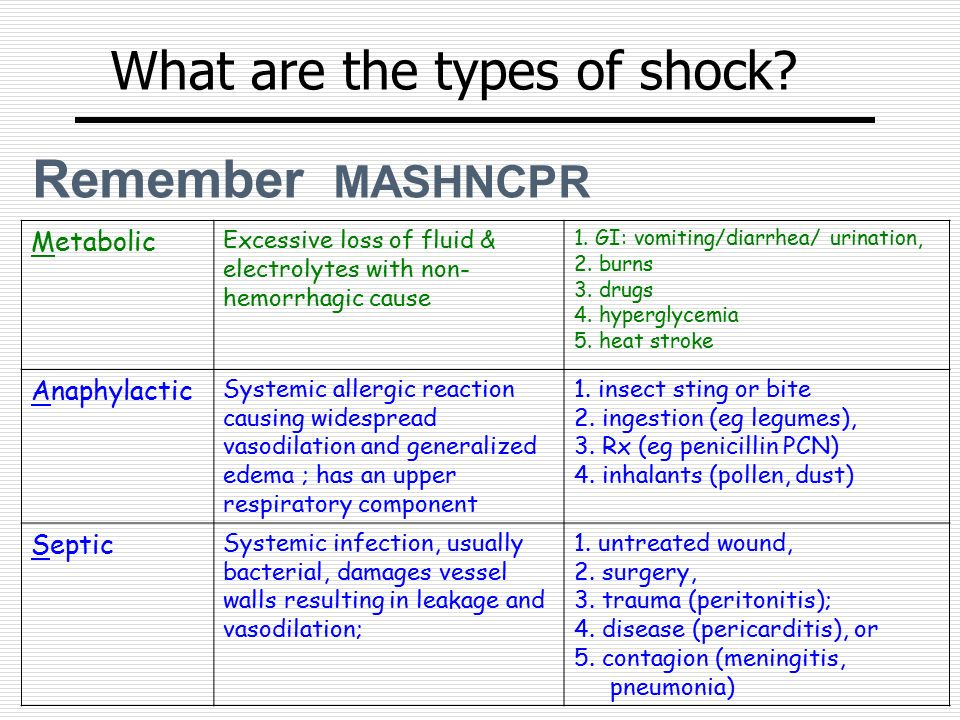 What are the types of shock