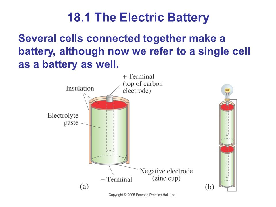 18.1 The Electric Battery Several cells connected together make a battery, although now we refer to a single cell as a battery as well.