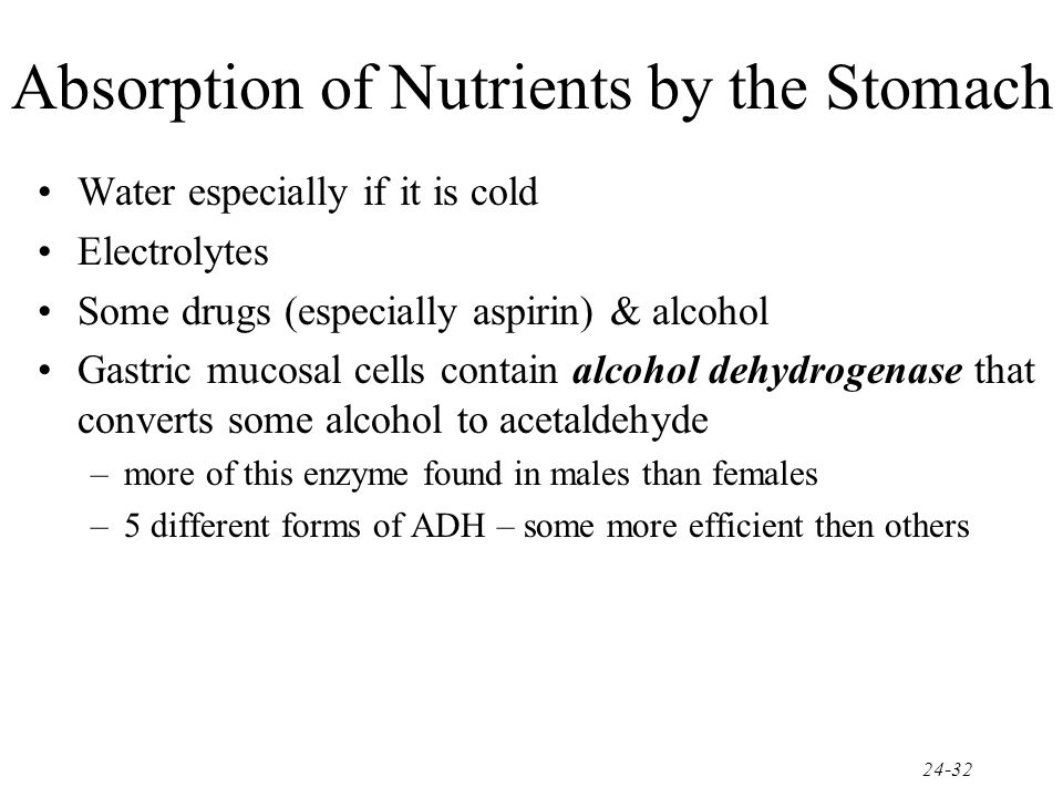 Absorption of Nutrients by the Stomach