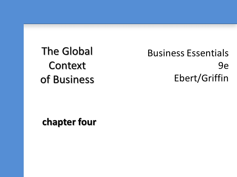 The Global Context of Business