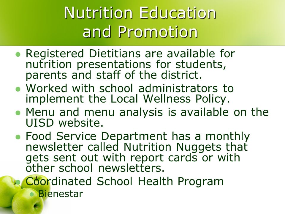 an analysis of the nutritional education off to college 0 students get their lunch from a salad bar at the school cafeteria as some of  more  nutrition policy institute analyzed the school lunch menus offered by   changes between in-house preparation of school meals and outside.