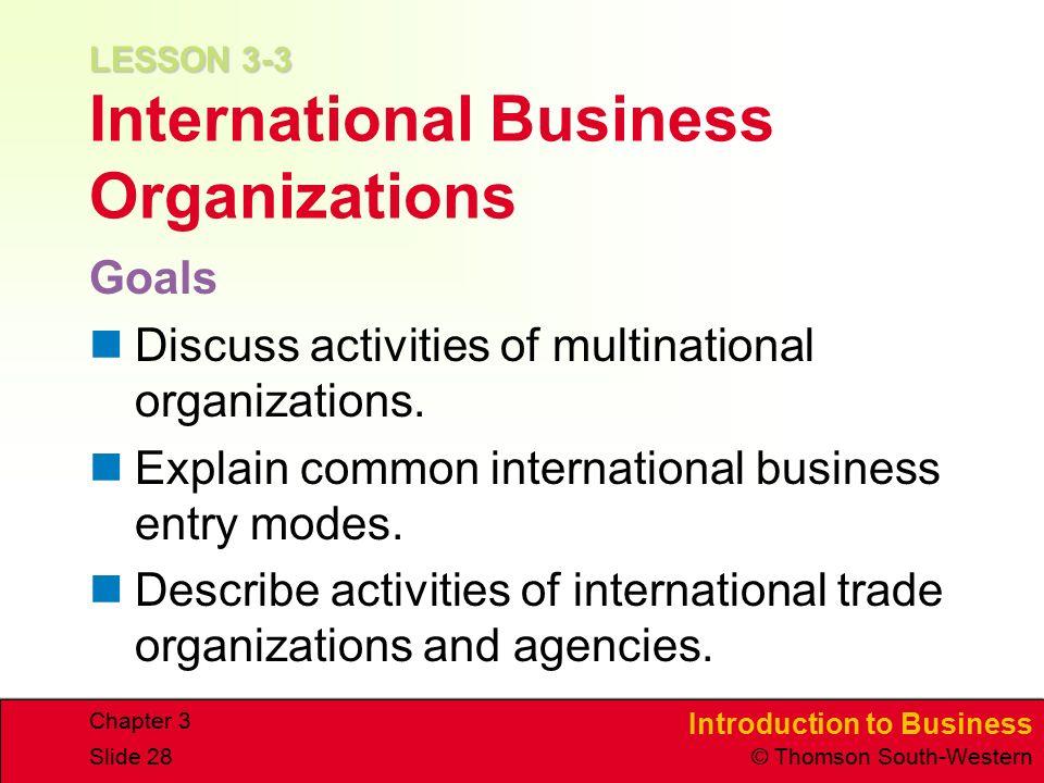 LESSON 3-3 International Business Organizations