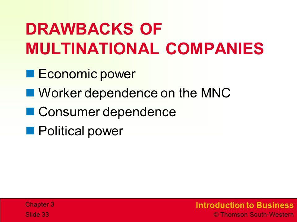 DRAWBACKS OF MULTINATIONAL COMPANIES