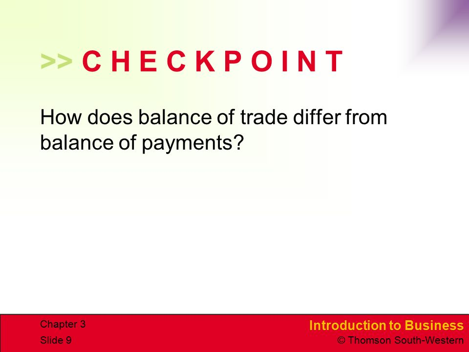 >> C H E C K P O I N T How does balance of trade differ from balance of payments Chapter 3