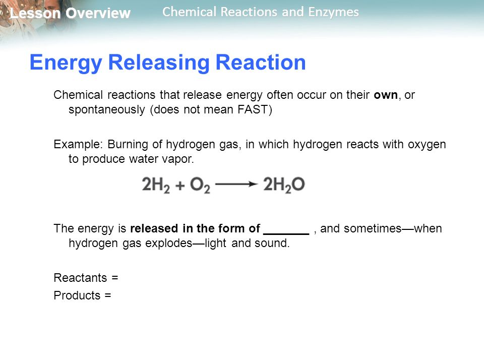Energy Releasing Reaction