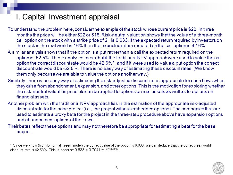 Capital appraisal example