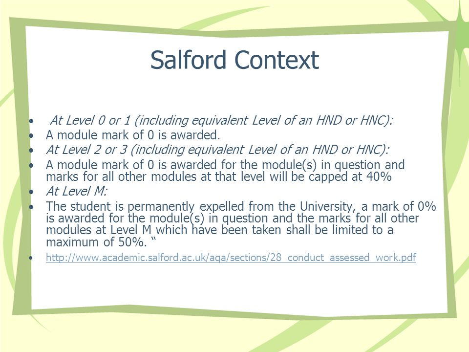 Salford ContextAt Level 0 or 1 (including equivalent Level of an HND or HNC): A module mark of 0 is awarded.