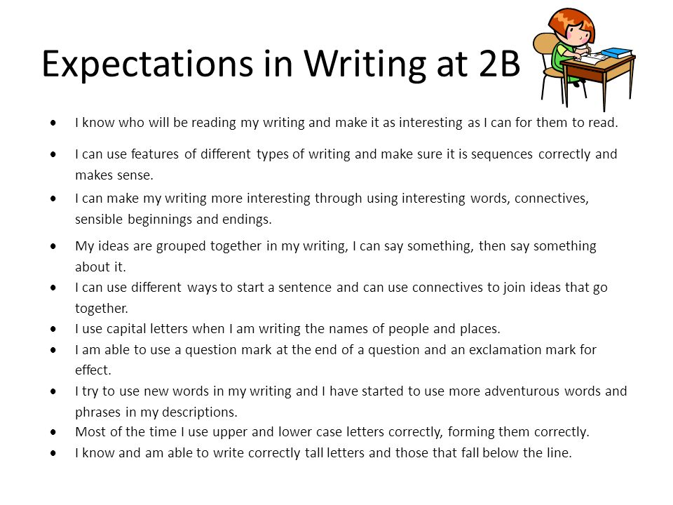 Expectations in Writing at 2B