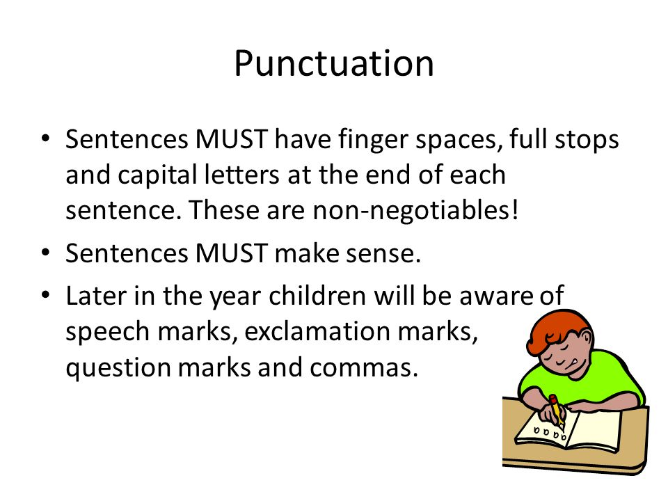 Punctuation Sentences MUST have finger spaces, full stops and capital letters at the end of each sentence. These are non-negotiables!