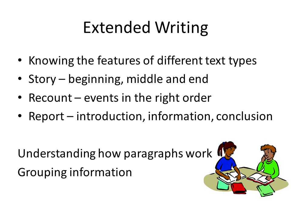 Extended Writing Knowing the features of different text types