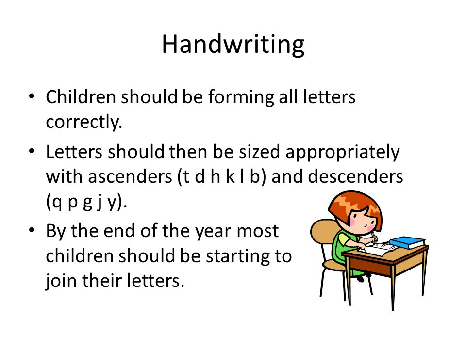 Handwriting Children should be forming all letters correctly.