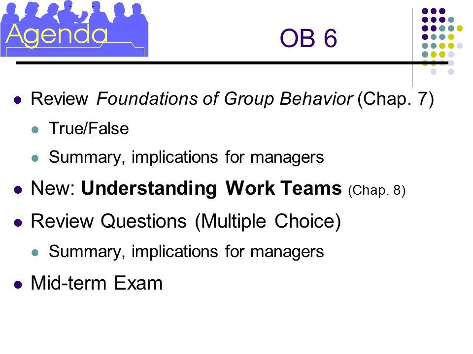 Ob 6 New Understanding Work Teams Chap 8 Ppt Video Online Download