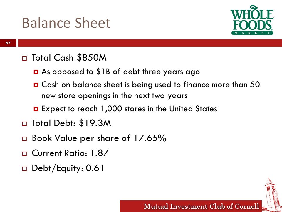 Whole Foods Total Debt To Equity Ratio