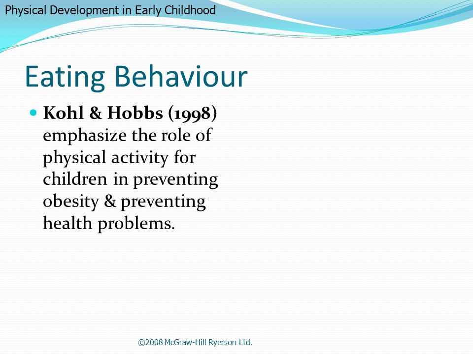 physical activity in early childhood The victorian prevention and health promotion achievement program early childhood education and care services active play/physical activity benchmarks.