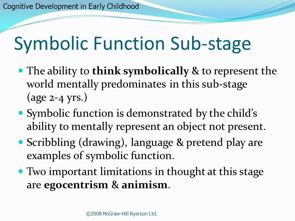 cognitive development in early childhood Here are piaget's four cognitive stages during childhood development: cognitive stages for child development as defined in the information processing model.