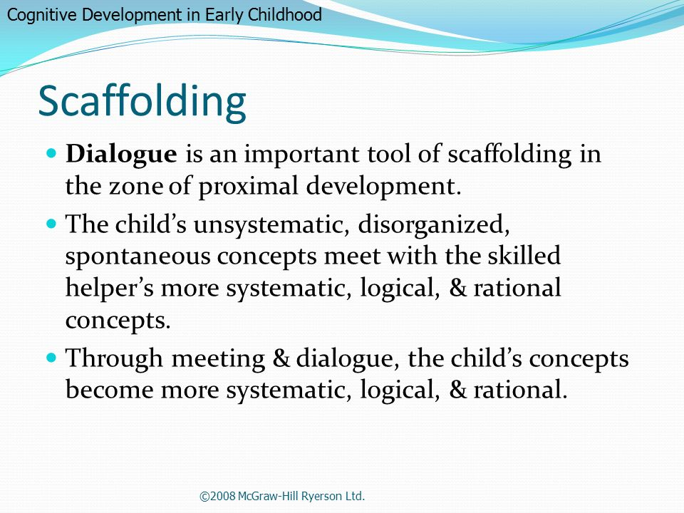 child development scaffolding As a teacher, being responsive to each child's needs, strengths and interests  requires knowing each child and the developmentally appropriate.