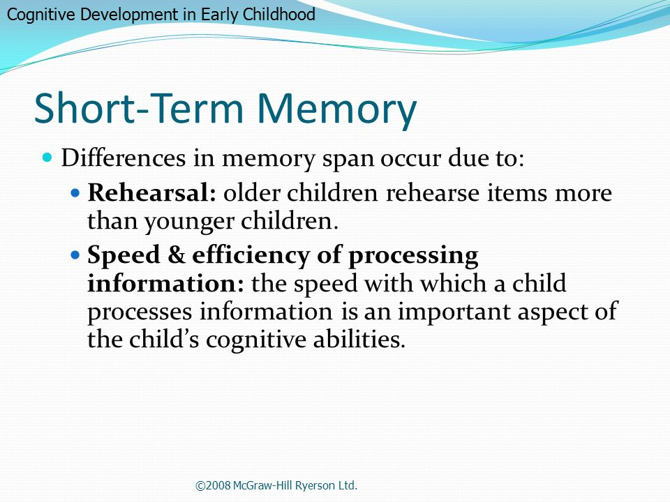 measuring short term memory span by Short term memory is the ability to keep information in mind for a short amount of time remembering a phone number long enough to find a piece of paper is an example .