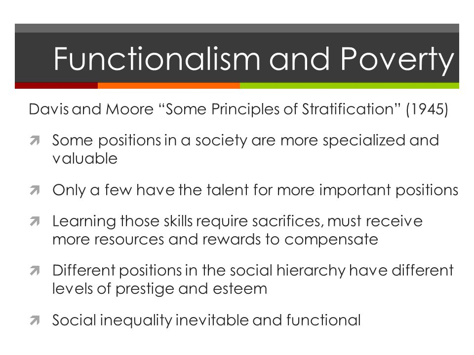 functionalist view on social stratification Choose one of the following questions: 1 compare and contrast the functionalist view of social stratification and the conflict theory's view of social stratification.
