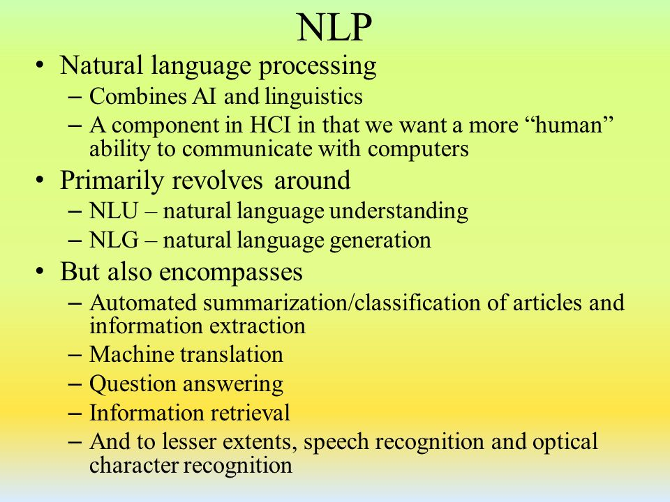 AI - Natural Language Processing